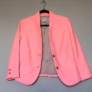 Loft Neon Coral Textured Women's Jacket Blazer 12